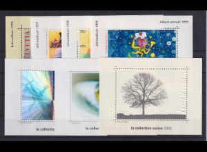 Schweiz 1996-2004 Lot 7 Vignetten Blocks aus Jahrbüchern.