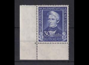 Bundesrepublik 1949 Wohlfahrt, 30Pfg Wichern Mi.-Nr. 120 ** Ecke unten links.