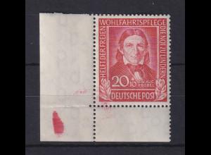 Bundesrepublik 1949 Wohlfahrt, 20Pfg Fröbel Mi.-Nr. 119 ** Ecke unten links.