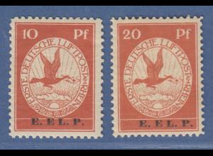 Dt. Reich 1912 Halbamtliche Flugpost E.EL.P. Satz 10 / 20 Pfg. Mi.-Nr. V und VI