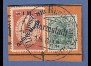 """Dt. Reich 1912 Halbamtliche Flugpost 1 M """"Gelber Hund"""" Mi.-Nr. IV mit 5Pfg-Marke"""