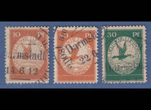 Dt. Reich 1912 Halbamtliche Flugpost Satz 10-20-30 Pfg. Mi.-Nr. I-III gestempelt