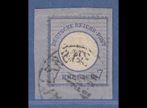Deutsches Reich kleiner Brustschild 7 Kreuzer Mi-Nr 10 gest. auf Briefstück