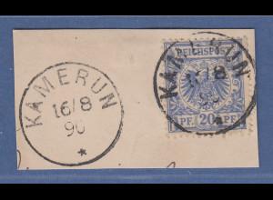 Deutsche Kolonien Kamerun Vorläufer V48a auf Briefstück O KAMERUN 16/8 90