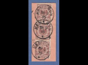 Deutsche Kolonien Kamerun Vorläufer V50d 3x auf Briefstück O KAMERUN 28 9 95