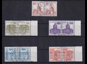 Bund 1982 Burgen&Schlösser Mi-Nr. 1139-43 waag. Paare meist mit O BENEDIKTBEUREN