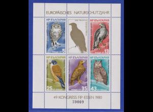 Bulgarien 1980 Naturschutzjahr Vögel Mi.-Nr. 2916-20 Block 105 **