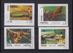 Nepal 1998 Schlangen Mi.-Nr. 673-76 Satz 4 Werte ** / MNH