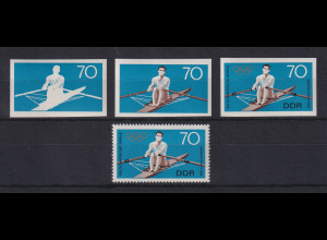 DDR 1968 kpl. Serie Phasendrucke Mi.-Nr. 1409 Olympische Spiele Rudern **
