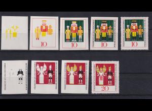DDR 1967 Serie Phasendrucke Mi.-Nr. 1333-34 Weihnachten Kunst Erzgebirge