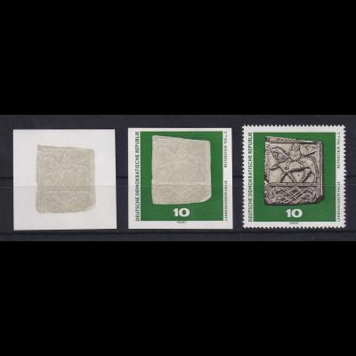 DDR 1970 2 Phasendrucke Mi.-Nr. 1553 Archäologie Reiterstein 10 Pfg