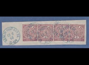 NDP 1/4 Groschen Mi.-Nr. 1 Zwei Paare wie 4er-Streifen geklebt auf Briefstück