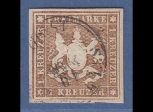 Württemberg Wappen 1 Kreuzer braun Mi.-Nr. 11a gestempelt