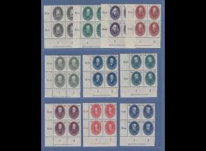 DDR 1950 Akademie Mi-Nr. 261-70 Eckrand-Viererblocksatz mit DZ kpl. postfrisch !