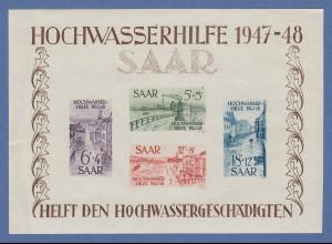 Saarland 1947 grosser Hochwasser-Block Mi.-Nr. Block 1 * , Knitterungen