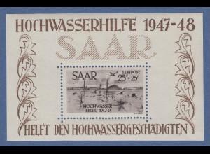 Saarland 1947 Hochwasser-Block Mi.-Nr. Block 2 sauber ungebraucht * (Haftstelle)