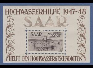 Saarland 1947 Hochwasser-Block Mi.-Nr. Block 2 minimaler Haftpunkt, sonst **