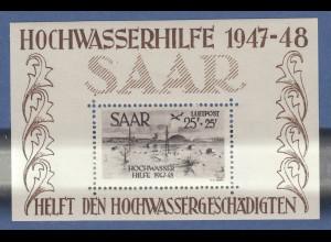 Saarland 1947 Hochwasser-Block Mi.-Nr. Block 2 sauber * mit dezenten Falzspuren