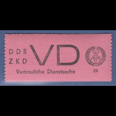 DDR Dienstmarken D für vertrauliche Dienstsachen Mi-Nr. 2 ** mit Plattenfehler I