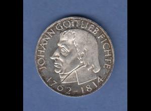 Bundesrepublik 5DM Silber-Gedenkmünze 1964, Johann Gottlieb Fichte. ANSEHEN