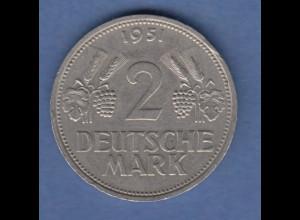 Bundesrepublik Kursmünze 2 Mark Ähren, 1951, Prägestätte F Stuttgart