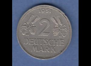 Bundesrepublik Kursmünze 2 Mark Ähren, 1951, Prägebuchstabe F Frankfurt