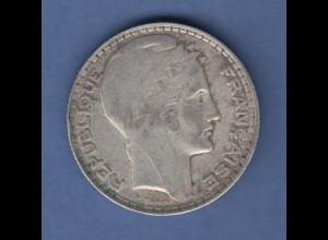 Frankreich alte Silbermünze 10 Francs 1930