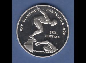 Malediven 1990 Silbermünze 250 Rufiyaa Olympische Spiele Barcelona 1992