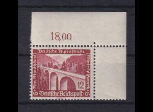 Deutsches Reich 1936 WHW Bauten 12Pfg Mi-Nr. 639 Eckrandstück OR **