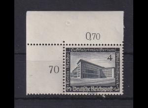 Deutsches Reich 1936 WHW Bauten 4Pfg Mi-Nr. 635 Eckrandstück OL **