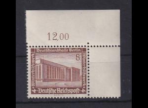 Deutsches Reich 1936 WHW Bauten 8Pfg Mi-Nr. 638 Eckrandstück OR **