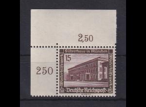 Deutsches Reich 1936 WHW Bauten 15Pfg Mi-Nr. 640 Eckrandstück OR **