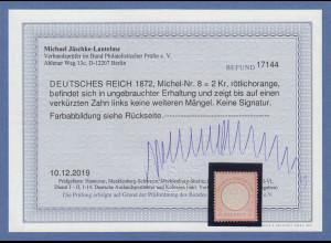 Dt. Reich kleiner Brustschild Mi.-Nr. 8 ungebrauchtes Prachtstück FB Jäschke BPP