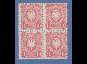 Dt. Reich Mi.-Nr. 41 II b 10 Pfennig Viererblock **. Obere Werte bügig. Gepr.