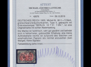 Dt. Reich 5 Mark REICHSPOST Mi.-Nr. 66 II gest. BERLIN, einwandfrei, Attest BPP