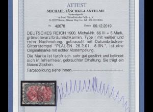Dt. Reich 5 Mark REICHSPOST Mi.-Nr. 66 III gest. PLAUEN, einwandfrei, Attest BPP