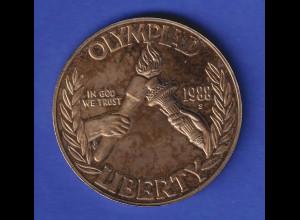 USA Silbermünze Olympiade 1988 Olympische Fackel OLYMPIAD LIBERTY PP