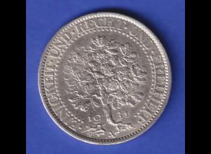 Deutsches Reich Silber-Kursmünze Eichbaum 5 Mark 1931 A vorzüglich !