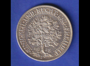 Deutsches Reich Silber-Kursmünze Eichbaum 5 Mark 1928 F