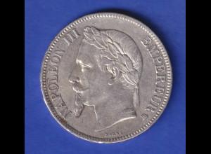 Frankreich 1867 Silbermünze 5 Francs Kaiser Napoleon III.