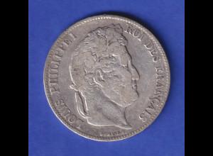 Frankreich 1840 Silbermünze 5 Francs König Louis Philippe