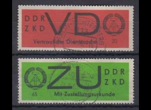 DDR Dienstmarken VD 3x und ZU 3x jeweils bedarfs-gestempelt