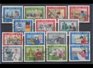 DDR Einzelmarken aus Block 19 Mi.-Nr. 1059-1073 B alle gest. TAURA (CHEMNITZ)