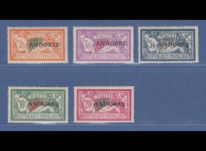 Andorra 1931 Freimarken-Höchstwerte 2-20 Fr. Mi.-Nr. 19-23 ungebraucht *