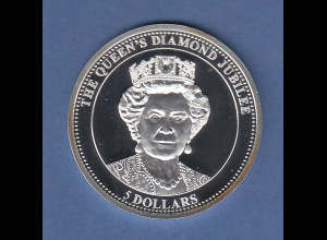 Niue 2012 Silbermünze 5 Dollar The Queens Diamond Jubilee mit Swarovski-Kristall
