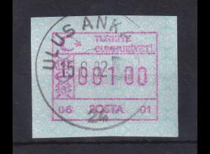Türkei FRAMA ATM Ausgabe 1992 mit Aut.-Nr. 06 - 01 gest ULUS ANKARA 15.8.92