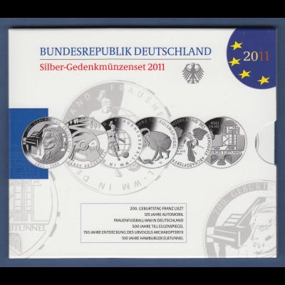 10-€-Gedenkmünzen-Set 2011 kpl. mit 6 Münzen in Prägequalität Spiegelglanz PP