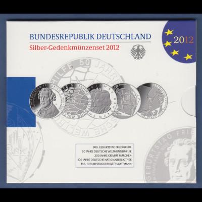 10-€-Gedenkmünzen-Set 2012 kpl. mit 5 Münzen in Prägequalität Spiegelglanz PP