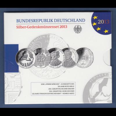 10-€-Gedenkmünzen-Set 2013 kpl. mit 5 Münzen in Prägequalität Spiegelglanz PP