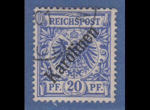 Deutsche Kolonien Karolinen diagonaler Aufdruck Mi.-Nr. 4 I gestempelt